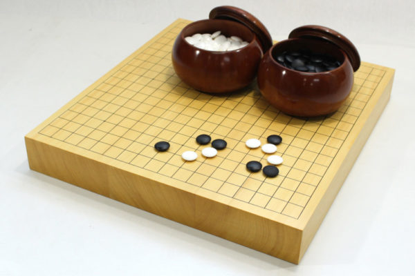 本榧碁盤20号卓上 碁石+碁笥セット